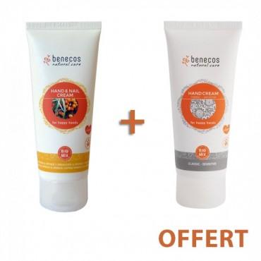 OFFRE Benecos bio Crème mains et les ongles à l'argousier et à l'orange 75ml + Crème mains aux peaux sensibles 75ml offert