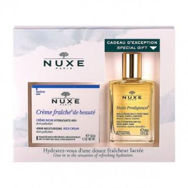 Offre spéciale Nuxe Crème Fraiche de Beauté Riche 50ml 48h + Huile Prodigieuse 30ml OFFERTE