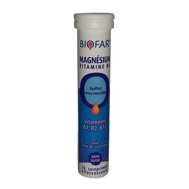 BIOFAR MAGNÉSIUM VITAMINE B6 - 20 Comprimés Effervescents